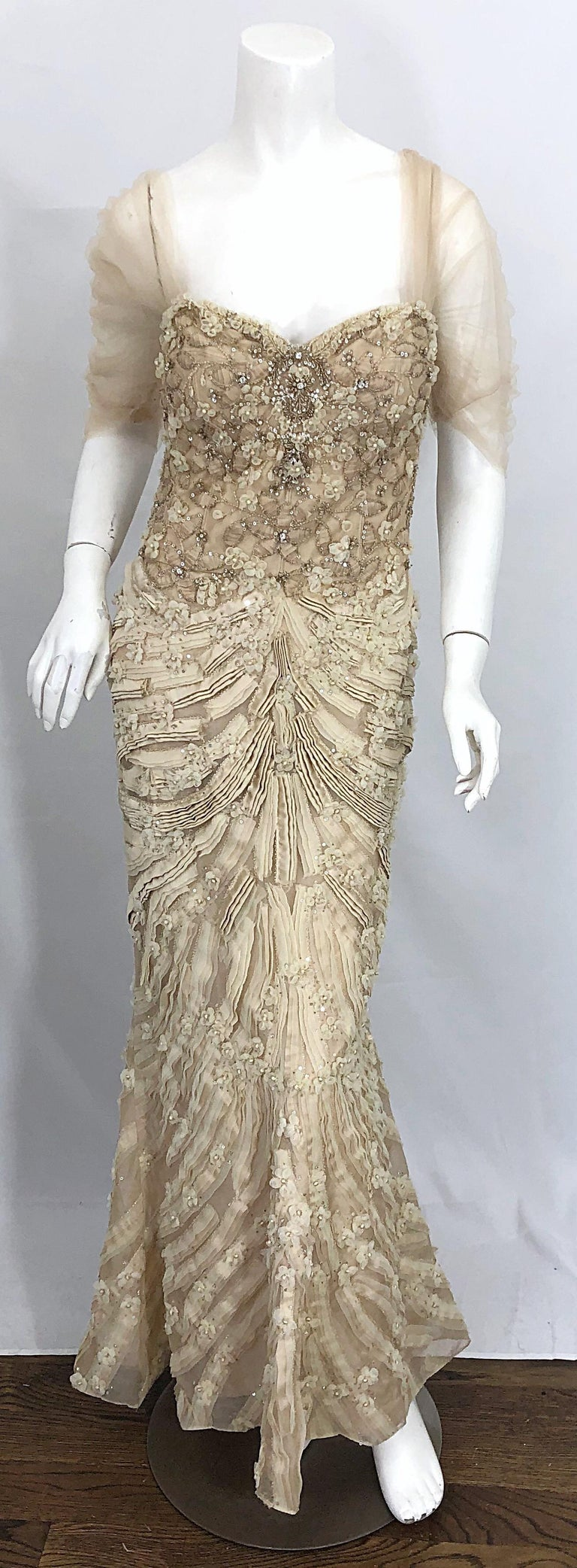 Stunning MONIQUE LHUILLIER Size 10 / 12 beige rhinestone beaded silk evening mermaid gown / dress! Words cannot even begin to describe the intricate details on this rare gem that retailed for over $12k. The ribbon detail is phenomenal, and