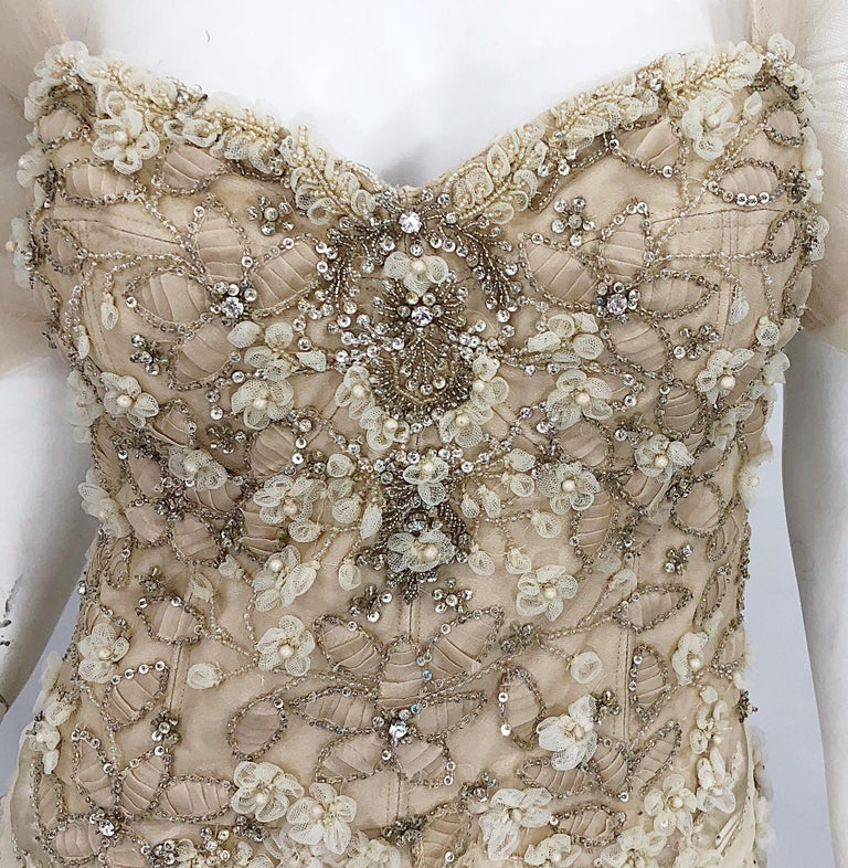 Women's Monique Lhuillier Couture Size 10 / 12 Beige Rhinestone Beaded $12,000 Silk Gown For Sale