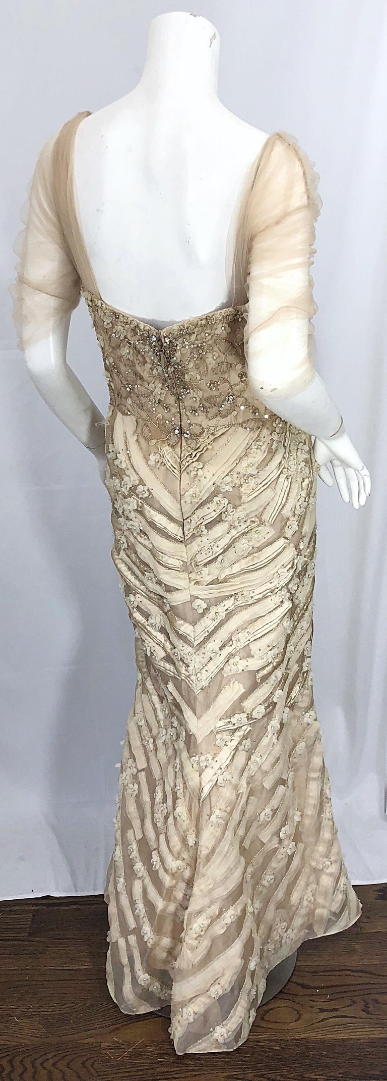 Monique Lhuillier Couture Size 10 / 12 Beige Rhinestone Beaded $12,000 Silk Gown For Sale 2