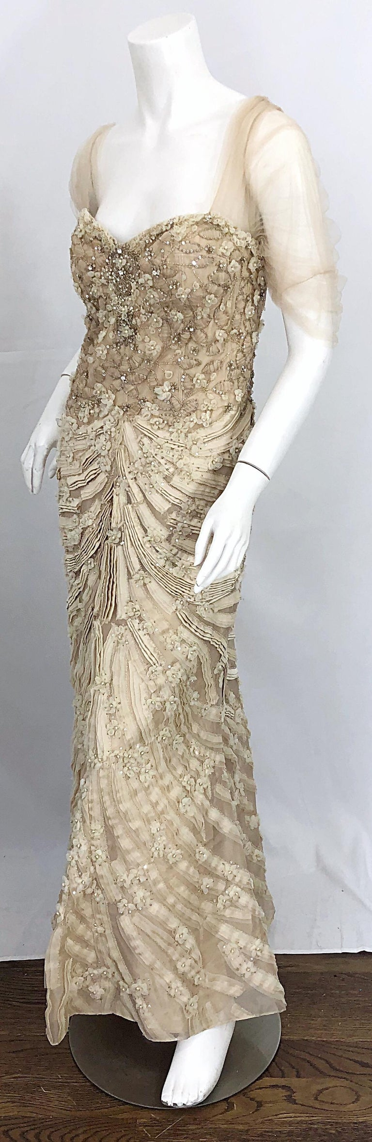 Monique Lhuillier Couture Size 10 / 12 Beige Rhinestone Beaded $12,000 Silk Gown For Sale 3