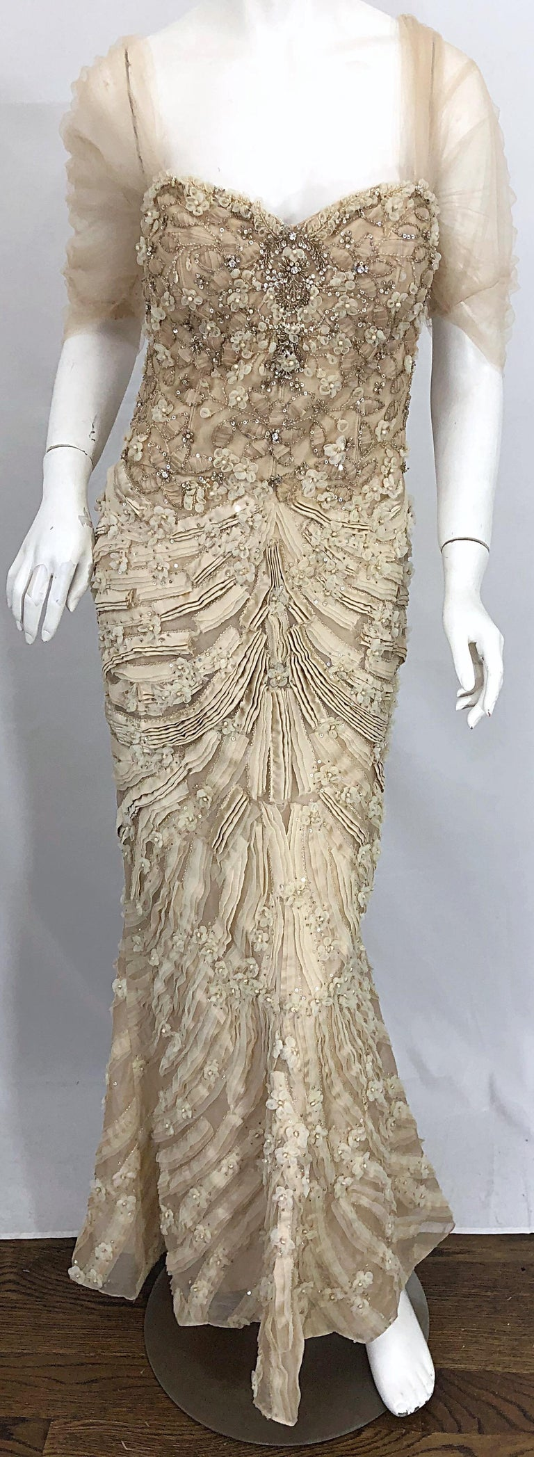 Monique Lhuillier Couture Size 10 / 12 Beige Rhinestone Beaded $12,000 Silk Gown For Sale 4