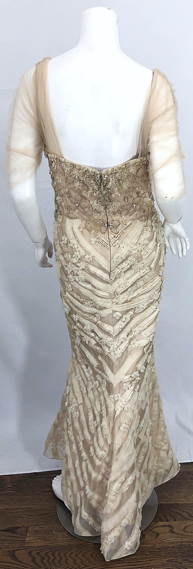 Monique Lhuillier Couture Size 10 / 12 Beige Rhinestone Beaded $12,000 Silk Gown For Sale 5
