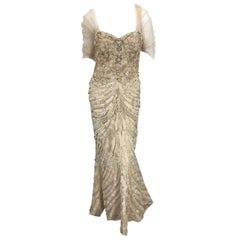 Monique Lhuillier Couture Size 10 / 12 Beige Rhinestone Beaded $12,000 Silk Gown