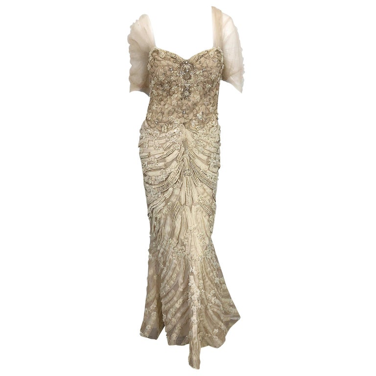 Monique Lhuillier Couture Size 10 / 12 Beige Rhinestone Beaded $12,000 Silk Gown For Sale