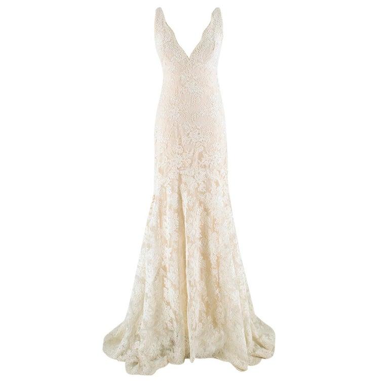 Trumpet Style Wedding Gowns: Monique Lhuillier Cream Lace Trumpet Wedding Dress 6 US