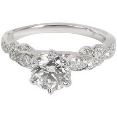Monique Lhuillier Diamond Engagement Ring in Platinum GIA H VVS1 1.38 Carat