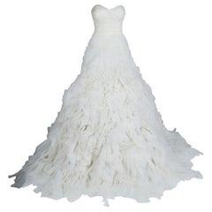 Monique Lhuillier F/W 2014 Skye Strapless Silk Organza Wedding Dress L