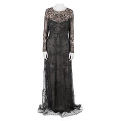 Monique Lhuillier Noir Black Embellished Long Sleeve Evening Gown S