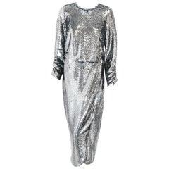 Monique lhuillier Pewter Tone Sequin 2 Piece Evening Dress