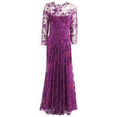 Monique Lhuillier Purple Lace Long Sleeve Gown - 10