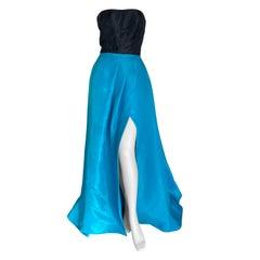Monique Lhuillier Vintage Strapless Silk Evening Dress