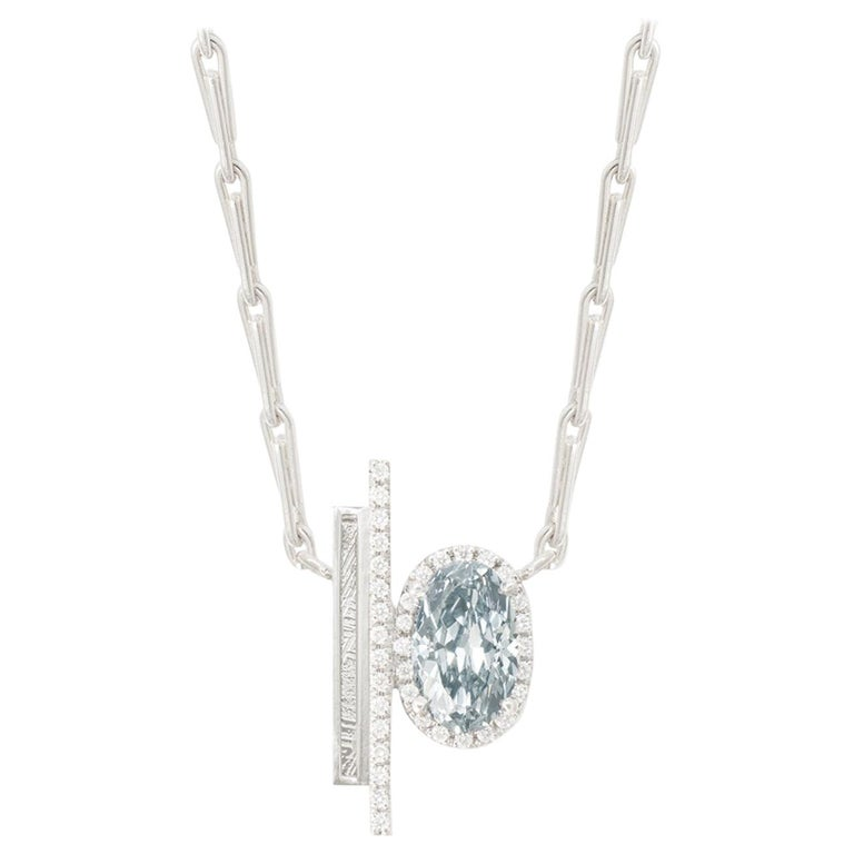 Natural fancy grayish blue diamond and meteorite necklace