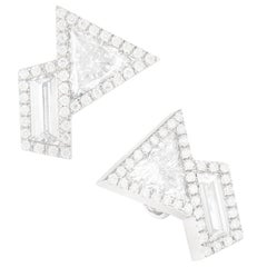 Monique Péan 0.89ct White Trapezoid & 1.53 Carat White Trillion Diamond Earrings