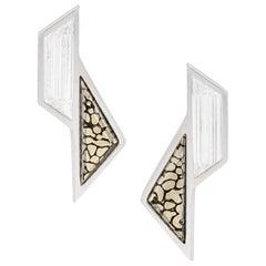 Monique Péan 0.90ct White Diamond & Pyritized Dinosaur Bone Sculpture Earrings