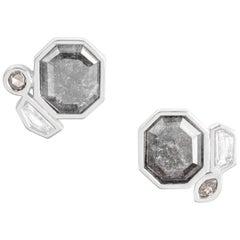 Monique Péan 2.39ct Grey Diamond Slice and Diamond Sculpture Earrings, Platinum