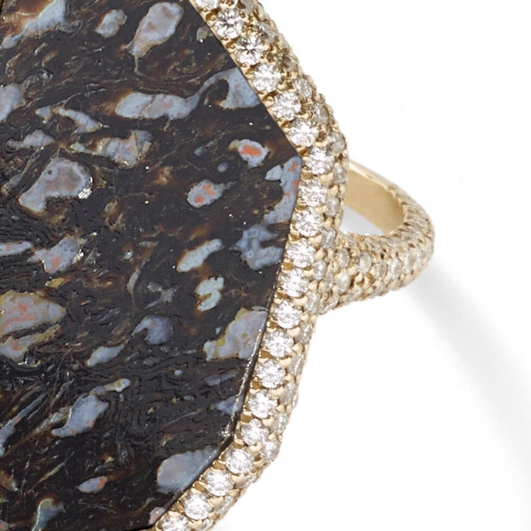 Monique Péan Black Fossilized Dinosaur Bone and Diamond Ring 18 Carat White Gold In New Condition For Sale In New York, NY