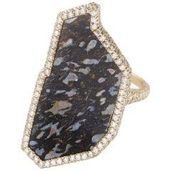 Monique Péan Black Fossilized Dinosaur Bone and Diamond Ring 18 Carat White Gold