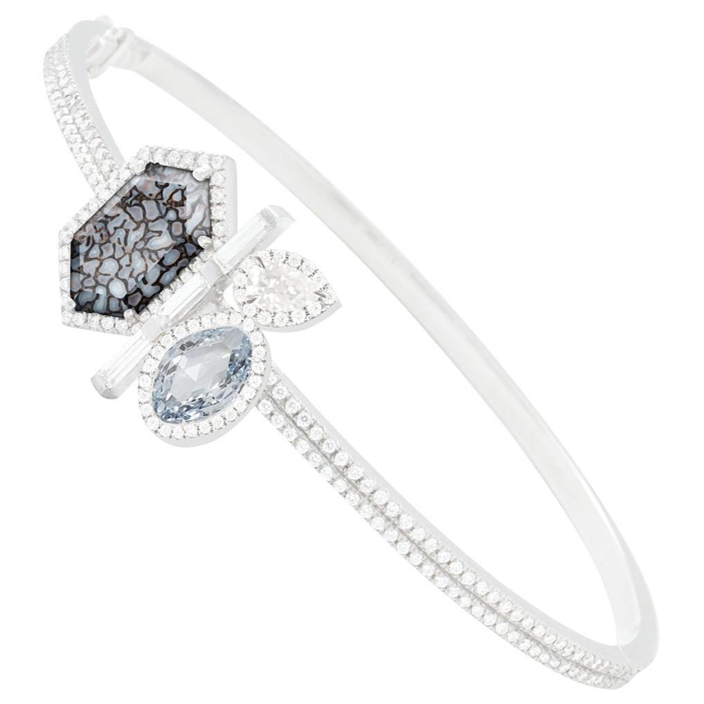 Monique Péan Blue Diamond, White Diamond and Blue Dinosaur Bone Bracelet