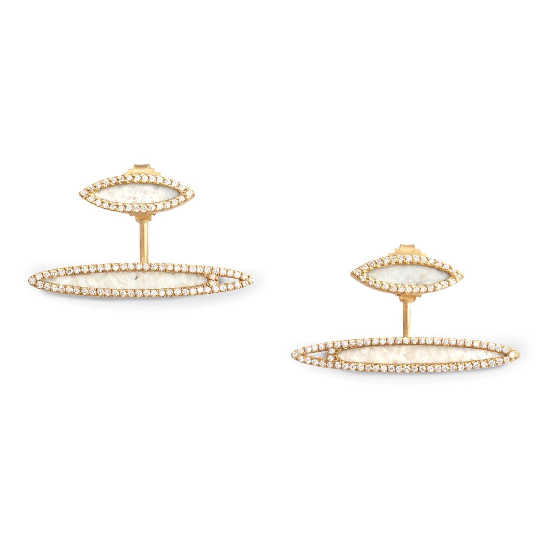 Monique Pean Cream Dinosaur Bone And White Diamond Earrings 18 Carat Yellow Gold For Sale At 1stdibs