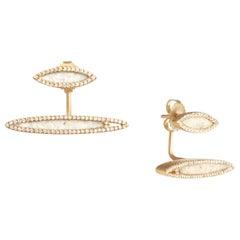 Monique Péan Cream Dinosaur Bone and White Diamond Earrings 18 Carat Yellow Gold