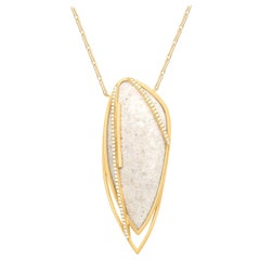 Monique Péan Cream Fossilized Dinosaur Bone and White Diamond Necklace
