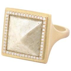Monique Péan Cream Fossilized Dinosaur Bone Ring, 18 Carat Yellow Gold