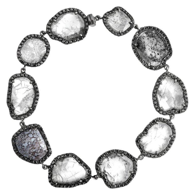Monique Péan Diamond Slice, Blue Dinosaur Bone and Black Diamond Bracelet For Sale