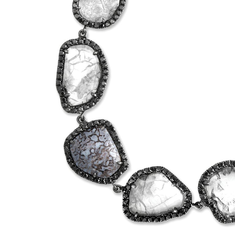 Diamond slice and blue fossilized dinosaur bone bracelet with black diamond pavé, 6.5