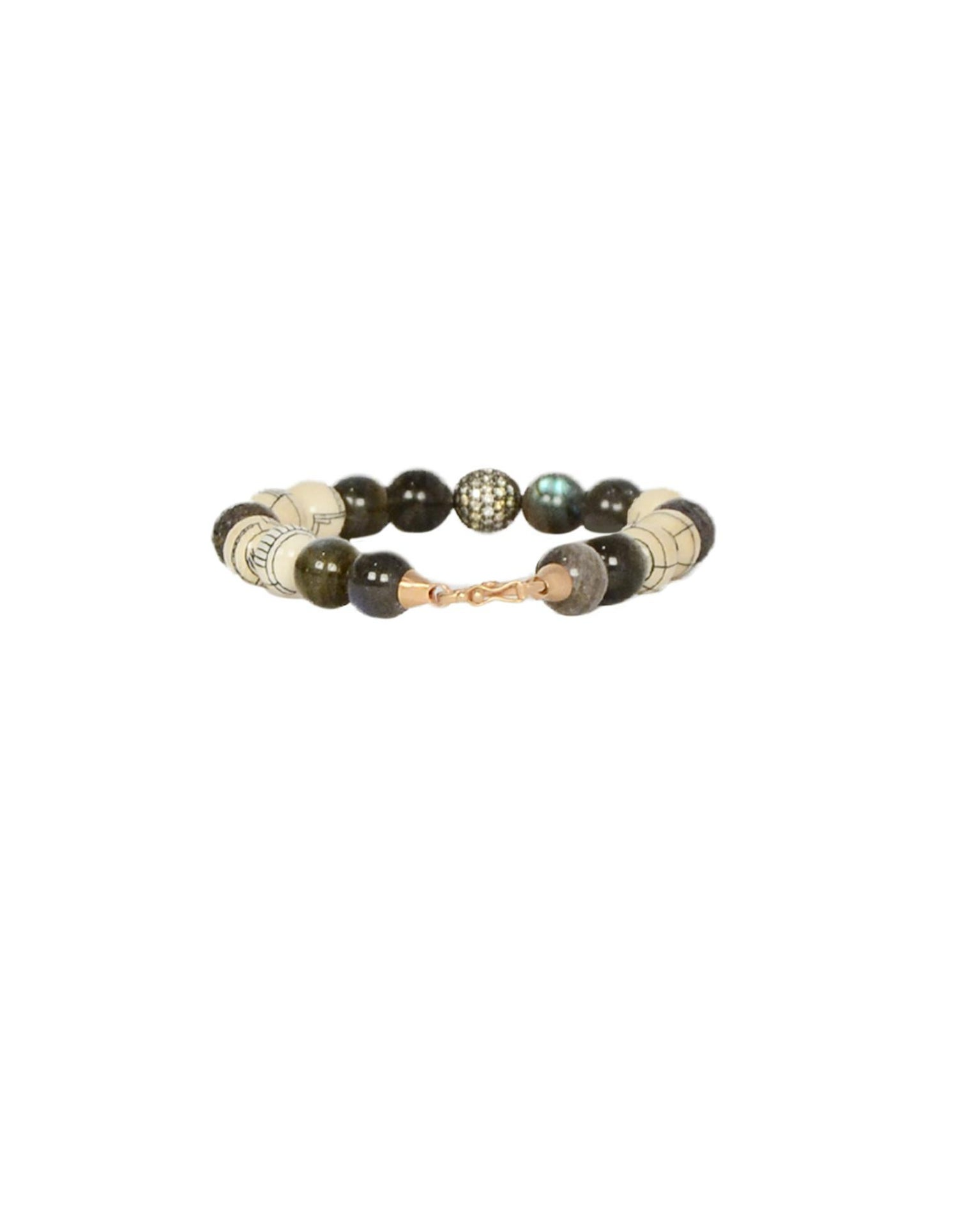 Monique Pean Fossilized Wooly Mammoth & Hand-Carved Scrimshaw Bead Bracelet