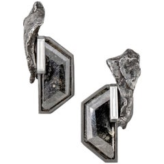 Monique Péan Meteorite and Diamond Slice Earrings, Recycled Oxidized Platinum