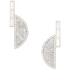 Monique Péan Meteorite and White Diamond Crescent Earrings, 18 Carat White Gold