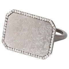 Monique Péan Meteorite and White Diamond Ring, 18 Carat Oxidized White Gold