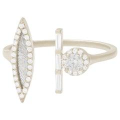 Monique Péan Meteorite Ring with Gray and White Diamonds, 18 Carat White Gold