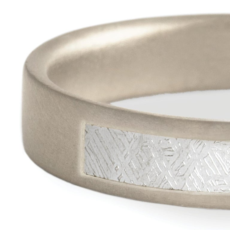 Monique Péan Meteorite Slice Inlay Band, 18 Carat Recycled White Gold In New Condition For Sale In New York, NY