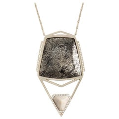 Monique Péan Pyritized & Cream Dinosaur Bone and Diamond Necklace, 18 Carat Gold