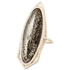 Monique Péan Pyritized Dinosaur Bone and White Diamond Dimension Ring