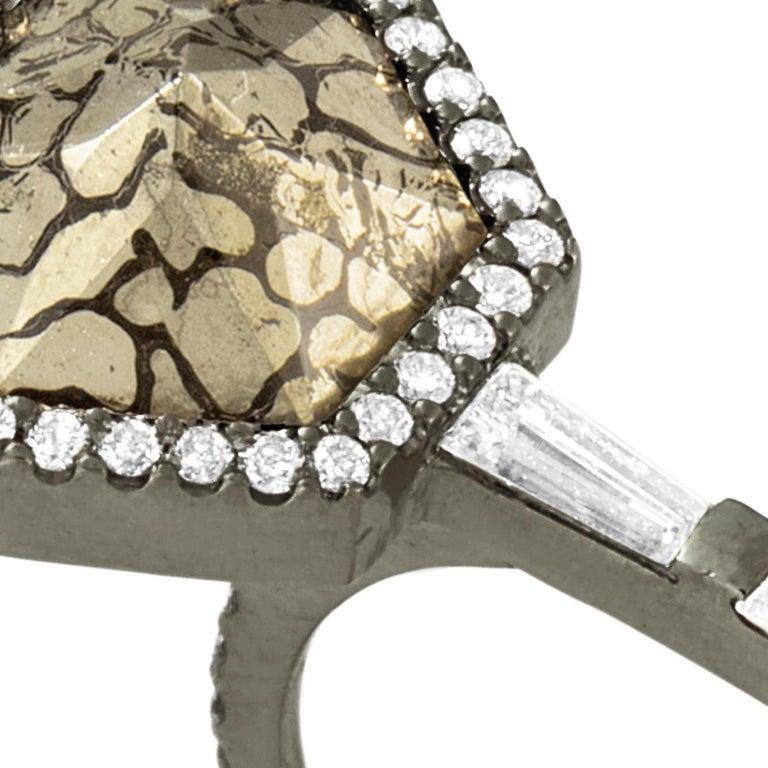 Baguette Cut Monique Péan Pyritized Dinosaur Bone and White Diamond Ring, 18 Carat White Gold For Sale