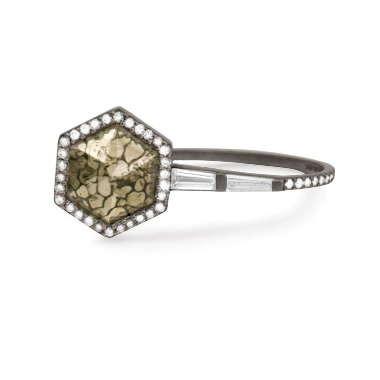 Pyritized dinosaur bone hexagonal ring with white diamond baguettes and white diamond pavé, 18 carat recycled oxidized white gold, 0.31 TCW  - One-of-a-kind  Inspired by Péan's travels to Naoshima Island, Japan, this ring features a hexagonal
