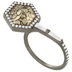 Monique Péan Pyritized Dinosaur Bone and White Diamond Ring, 18 Carat White Gold
