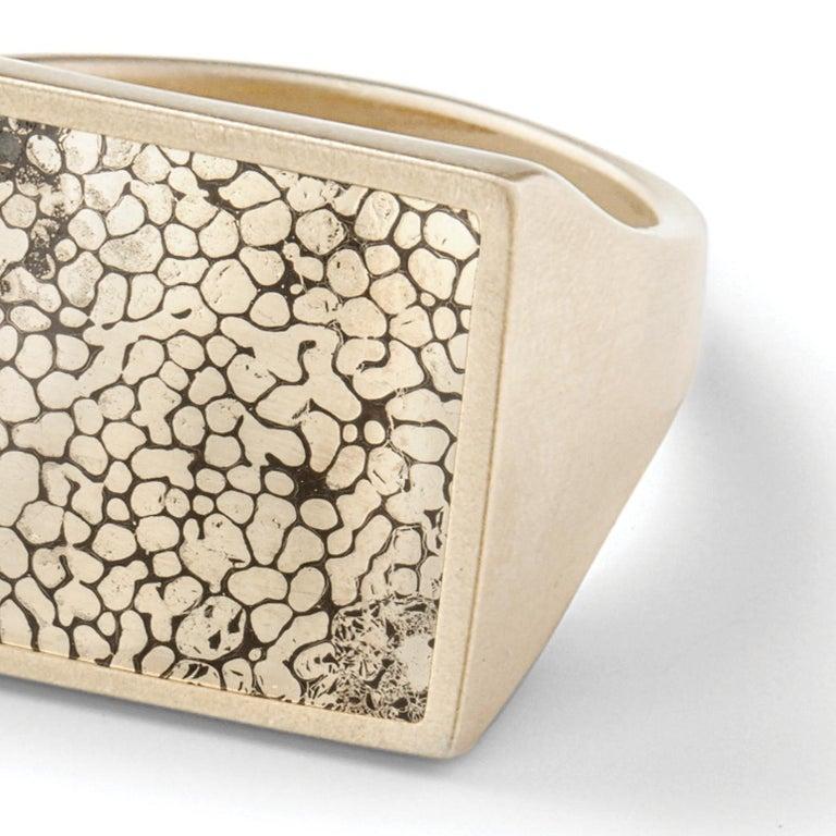 Women's Monique Péan Pyritized Dinosaur Bone Ring, 18 Carat Recycled White Gold