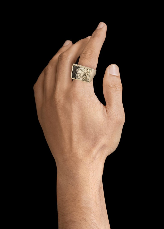 Monique Péan Pyritized Dinosaur Bone Ring, 18 Carat Recycled White Gold 2