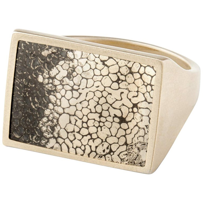 Monique Péan Pyritized Dinosaur Bone Ring, 18 Carat Recycled White Gold