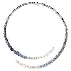 Monique Péan White Diamond and Ombré Blue Sapphire Open Ellipse Necklace