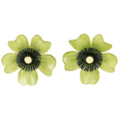 Monique Vedie, Line Vautrin Student Resin Clip Earrings Pistachio Flower