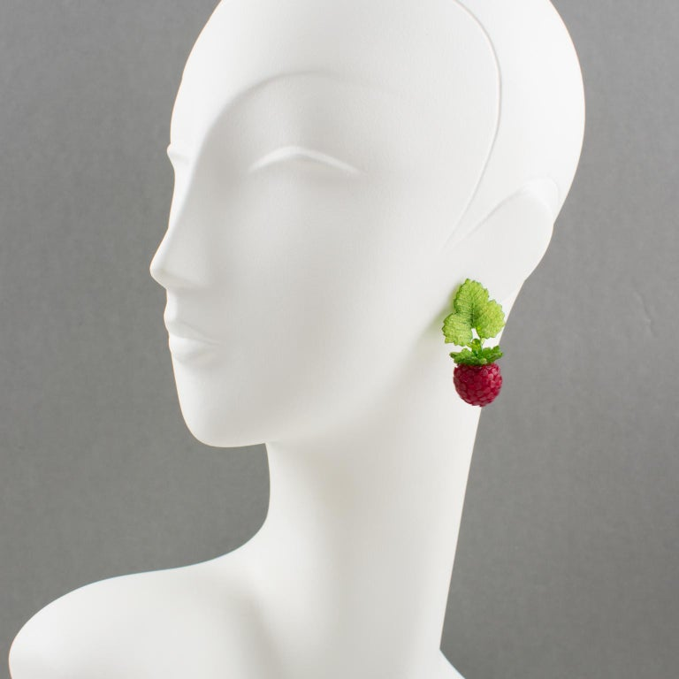 Lovely Monique Vedie Paris, resin clip-on earrings. Featuring raspberry and leaves dangling shape in lovely translucent red and green colors. French clip back marked