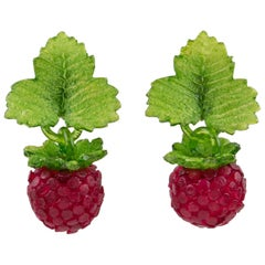 Monique Vedie Line Vautrin Student Resin Raspberry Clip Earrings