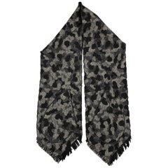 MONITALY Black & Gray Camouflage Wool Patch Pockets Fringe Scarf