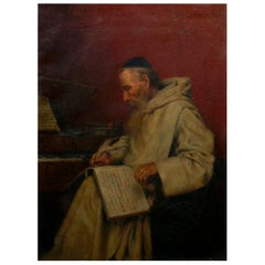 """""""Monk Writing Music"""" Antique Oil Painting by Richard Linderum, 'German'"""
