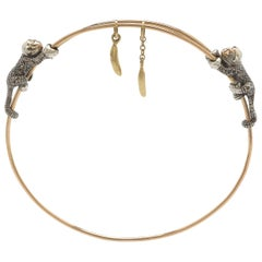 18K Rose Yellow Gold Brown Diamond Monkey and Banana Bangle Bracelet