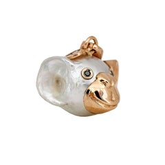 Monkey Black Diamond Red Gold Australian Pearl Pendant/Necklace and Charm